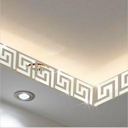 10PCS/SET Square Maze Mirror Wall Ceiling Home Decal Mural D