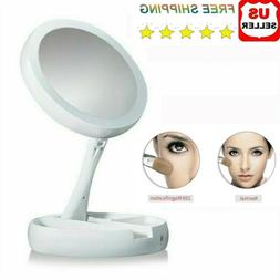 10X Magnifying LED Lighted Dual Side Folding Makeup Mirror T