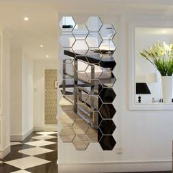 12Pcs Wall Decor Stickers 3D Mirror Hexagon Removable Decal