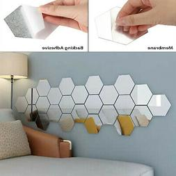 12Pcs 3D Mirror Wall Stickers Hexagon Vinyl Removable Decal
