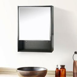 "22"" Medicine Cabinet Bathroom Black Wood Adjustable Shelf Mi"