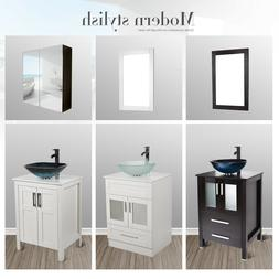 24'' Bathroom Vanity Single Cabinet Wood Top Vessel Sink Fau