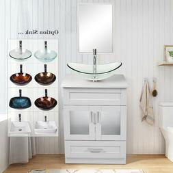 "24"" White Bathroom Vanity Cabinet Mirror Organizer Vessel Si"