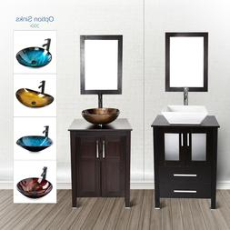 24'' Bathroom Vanity Floor Cabinet Single Wood Top Vessel Si