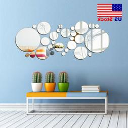 30x 3D Mirror Wall Stickers Vinyl Removable Modern Home Room