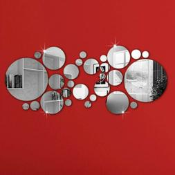 30X Removable 3D Mirror Wall Stickers Circle Decal Art Mural