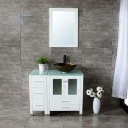 36'' Bathroom Vanity Wood Cabinet White Ceramic Vessel Sink