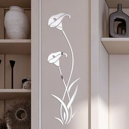 US Mirror Flower Art Removable Wall Sticker Acrylic Mural De