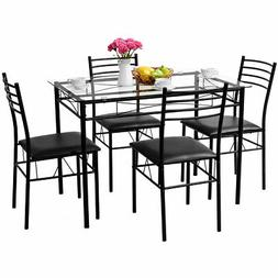 5PC Home Kitchen Dining Set Tempered Glass Top 4 Chairs Mode