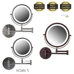 "Ovente 7"" Wall Mounted LED Lighted Magnifying Makeup Mirror"