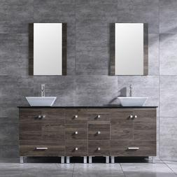"72"" Bathroom Vanity Wood Cabinet Double Ceramic Sink Modern"