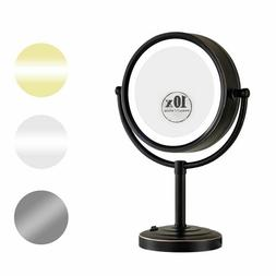 """GURUN 8.5"""" 10X Magnifying Lighted Table Makeup MIrror with 5"""