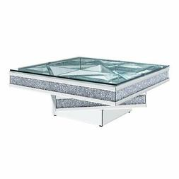 Acme Noralie Coffee Table in Mirrored and Faux Diamonds
