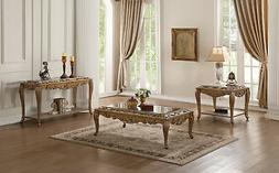 ACME Orianne Coffee Table in Mirrored and Antique Gold Silve