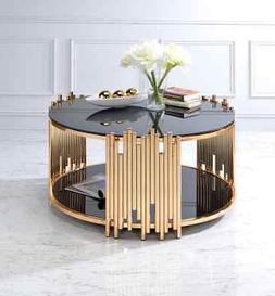 Acme Tanquin Coffee Table in Gold and Black Glass Finish 844