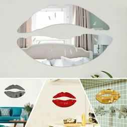 Acrylic Wall Mirror Stickers 3D Lip Art Mural Decal Home Rom