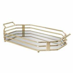 Kate and Laurel Alysson Metal Mirrored Tray - 13x23 Gold 13x