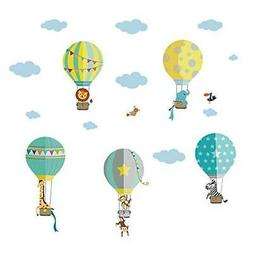 decalmile Animals in Hot Air Balloons Wall Decals Kids Wall