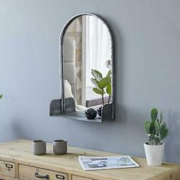 arched wall mirror with shelf metal frame