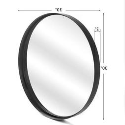 Black Metal Wall Mirror Brushed Framed Round Mirror Wall-Mou