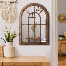 Brown Torched Wall Hanging Mirror Rustic Wood Frame Arched W