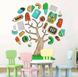 DecalMile Cartoon Alphabet Stationery Tree Wall Stickers Rem