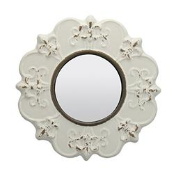 Stonebriar Decorative Round Antique White Ceramic Wall Mirro