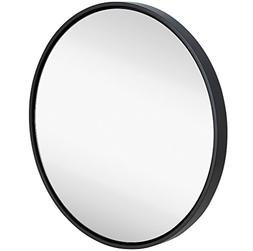 Clean Large Modern Black Circle Frame Wall Mirror | Contempo