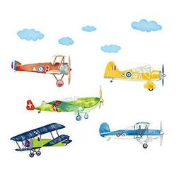 decalmile Colorful Airplane Wall Decals Boys Kids Room Wall