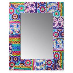 Colorful Framed Mirror Wood and Fabric Unique