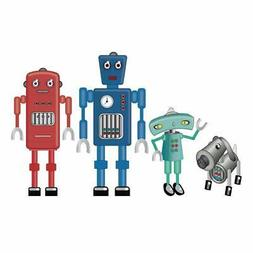 DecalMile Large Colorful Robots Wall Decals Peel and Stick R