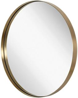 Hamilton Hills Contemporary Brushed Metal Gold Wall Mirror |