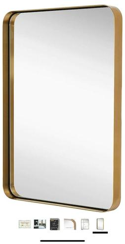 Hamilton Hills Contemporary Brushed Metal Wall Mirror 22x30.