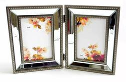 Double Photo Frame Beveled Mirror Strips Between Beaded Bord