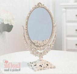 Double Sided Magnified Ornate Mirror Freestanding Dressing T
