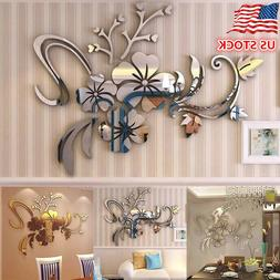 Exquisite Flower 3D Mirror Wall Stickers Removable Decal Art