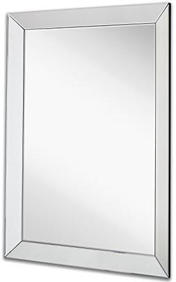 Large Framed Wall Mirror with 3 Inch Angled Beveled Mirror F