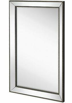 Framed Wall Mirror with Angled Beveled Mirror Frame and Bead