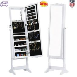 Free-Standing Full-Length Mirrored Jewelry Cabinet Armoire S