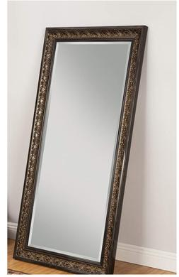 Full Length Mirror Antique Gold Brown Ornate Carved Leaning