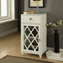 Acme Furniture Ceara White Mirrored Accent Storage Table Whi