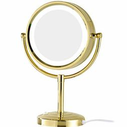 GURUN Gold Color Led Lighted Vanity Table Makeup Mirror with