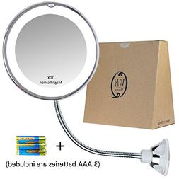 Gooseneck Magnifying Mirror with light, 10X Magnification, B
