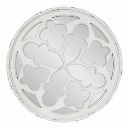 Kate and Laurel Holland Overlayed Round Wall Mirror - White