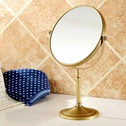 "Hotel Home Antique Brass 8"" inch Round 2-Sided Makeup Mirror"