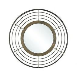 Industrial Inspired Metal Rings Bordered Round Wall Mirror M