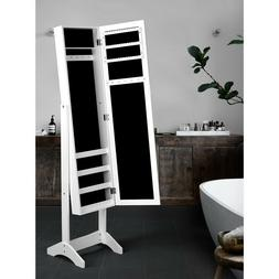 Jewelry Cabinet with Full Body Mirror Freestanding Storage