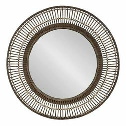 Kate and Laurel Kayanna Rattan Round Wall Mirror - Brown - B
