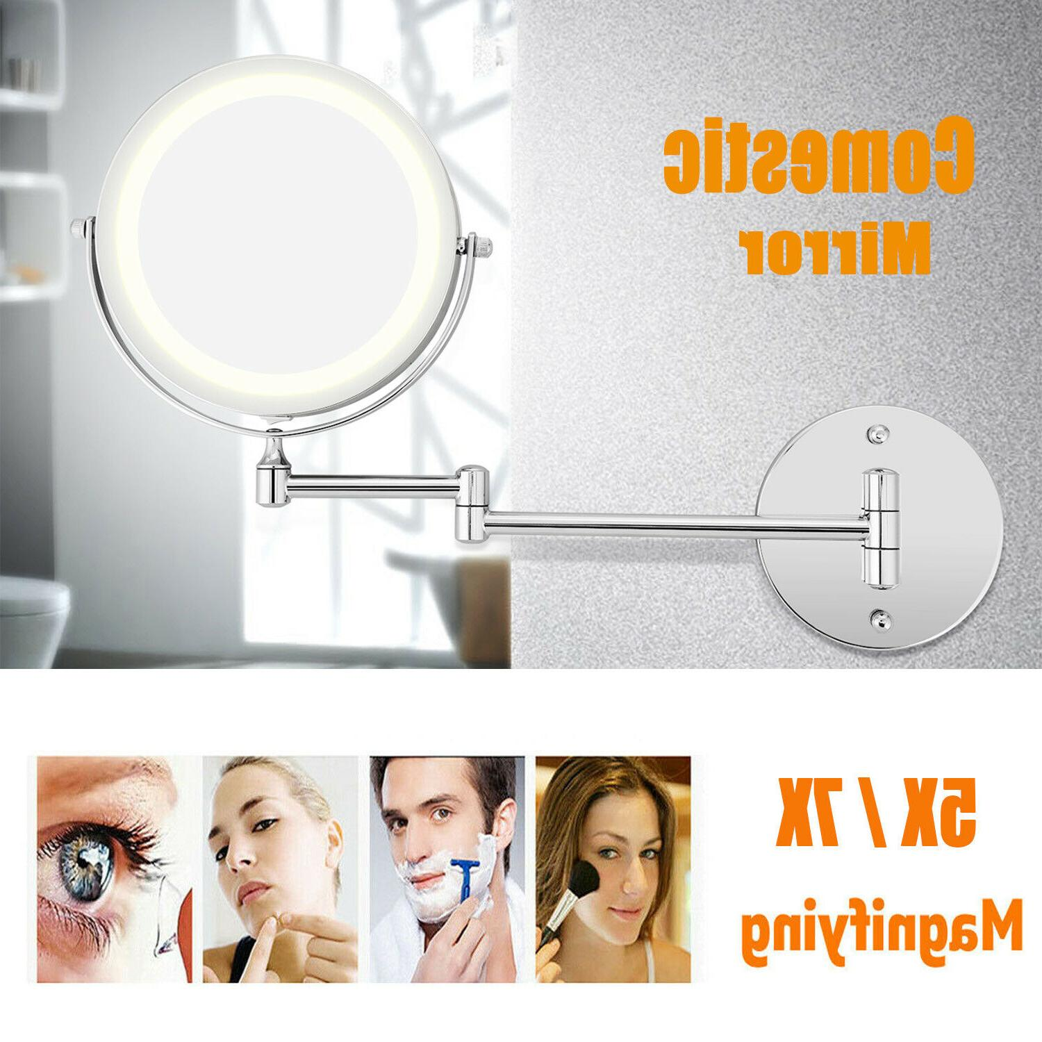 Wall Mounted 7x Magnifying Bathroom Vanity Makeup Mirror wit