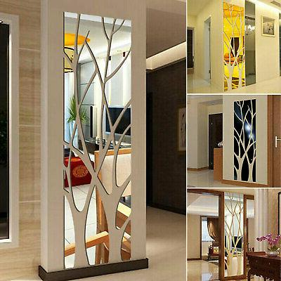 3d mirror tree art removable wall sticker